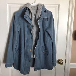 Jean jacket with gray hoodie vest
